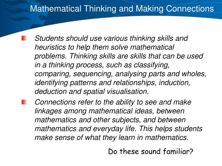 Mathematical Thinking and Making Connections