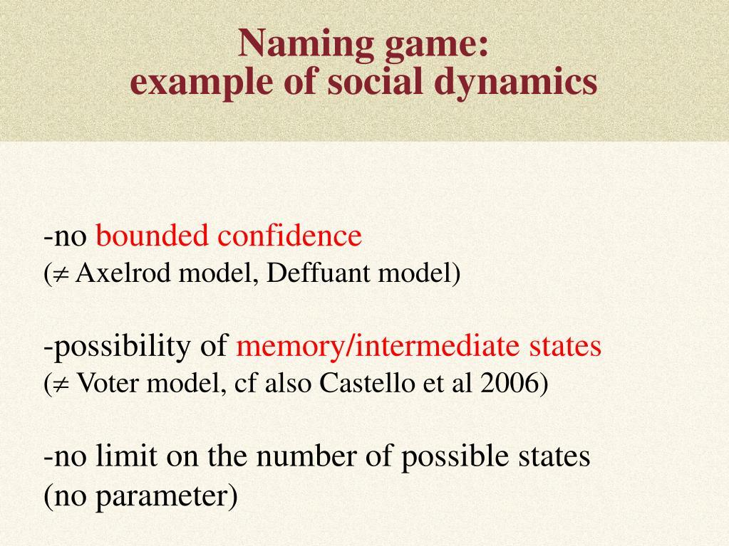 Naming game: