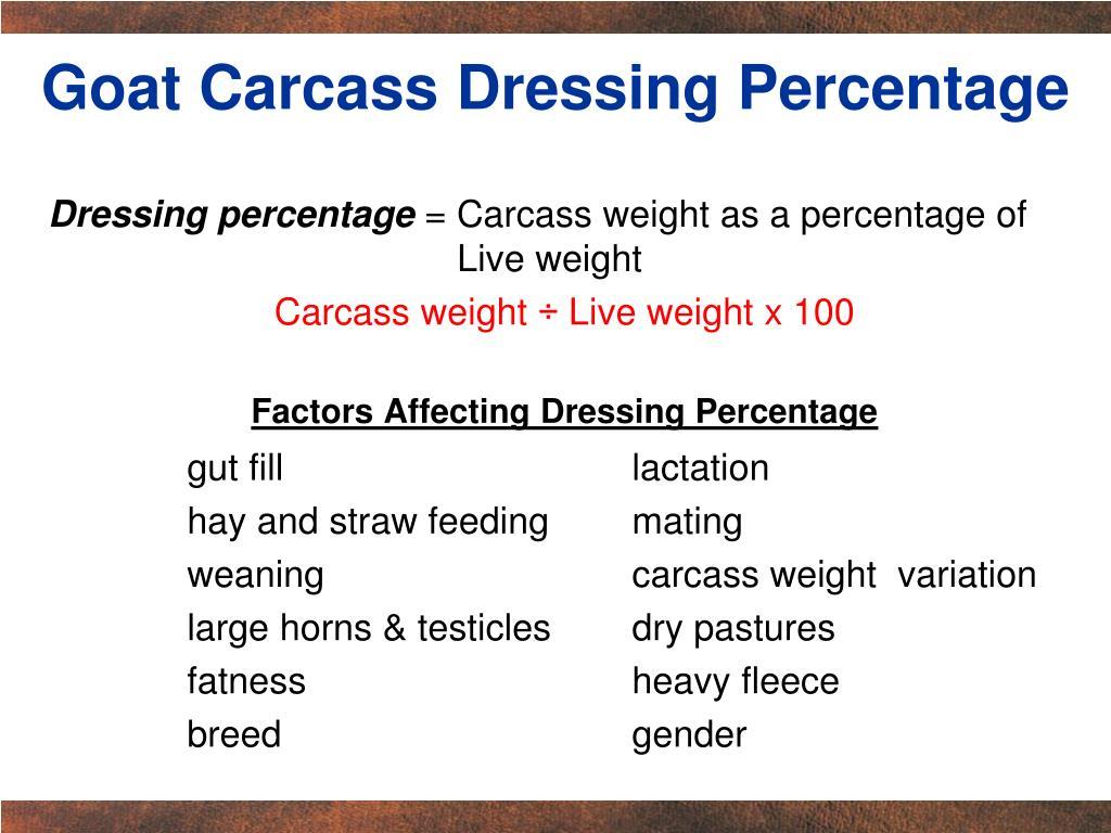 Goat Carcass Dressing Percentage