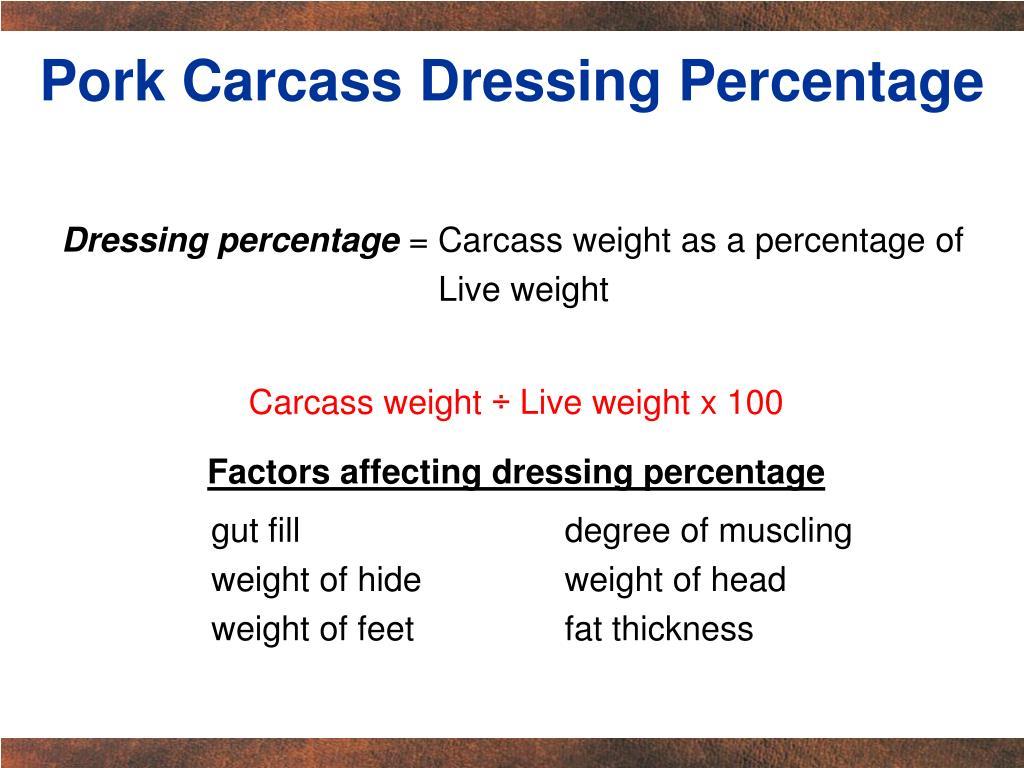 Pork Carcass Dressing Percentage