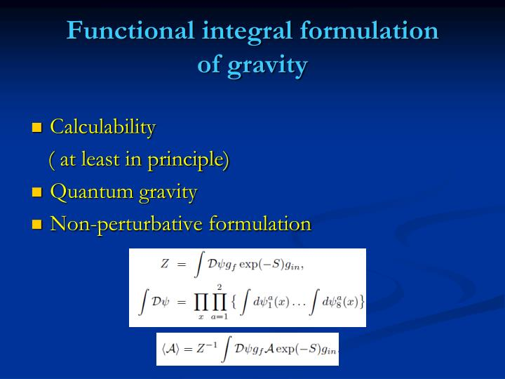 Functional integral formulation