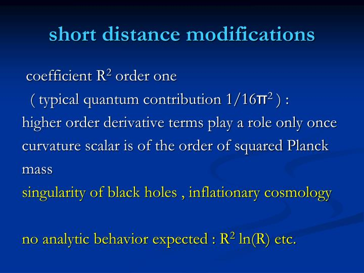 short distance modifications