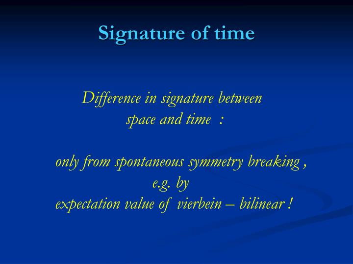 Signature of time
