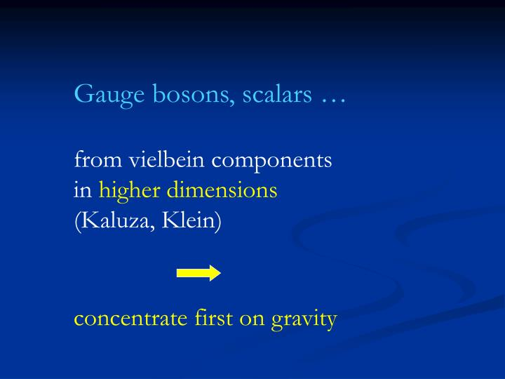 Gauge bosons, scalars …