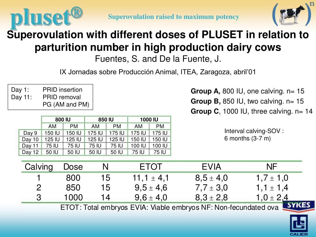 Superovulation with different doses of PLUSET in relation to parturition number in high production dairy cows