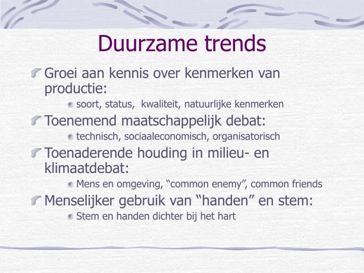 Duurzame trends