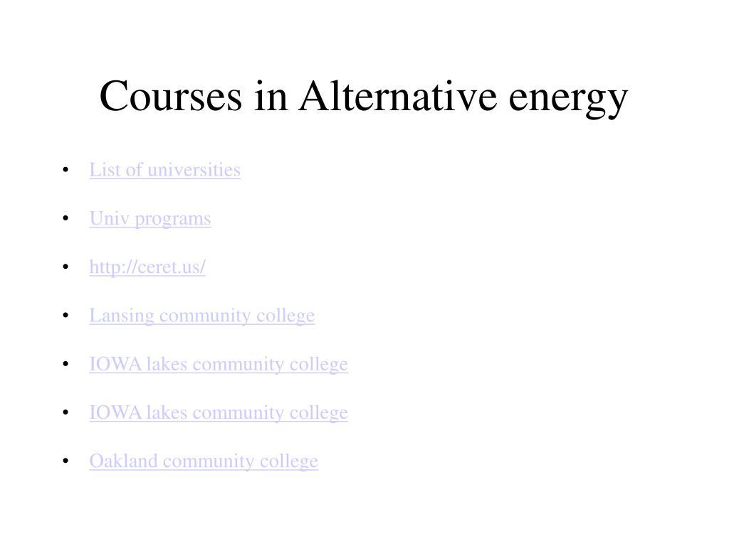 Courses in Alternative energy