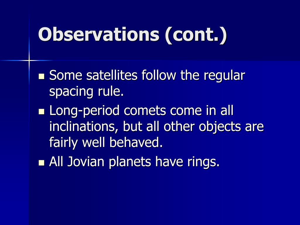 Observations (cont.)