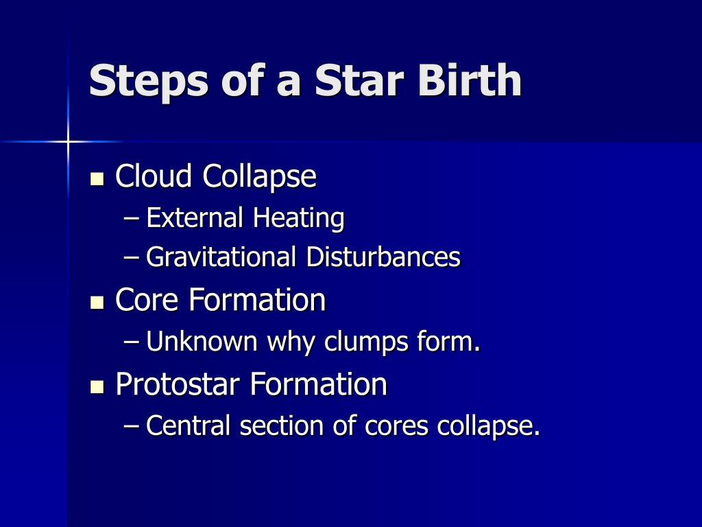 Steps of a Star Birth