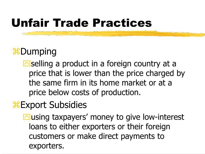 Unfair trade practices1