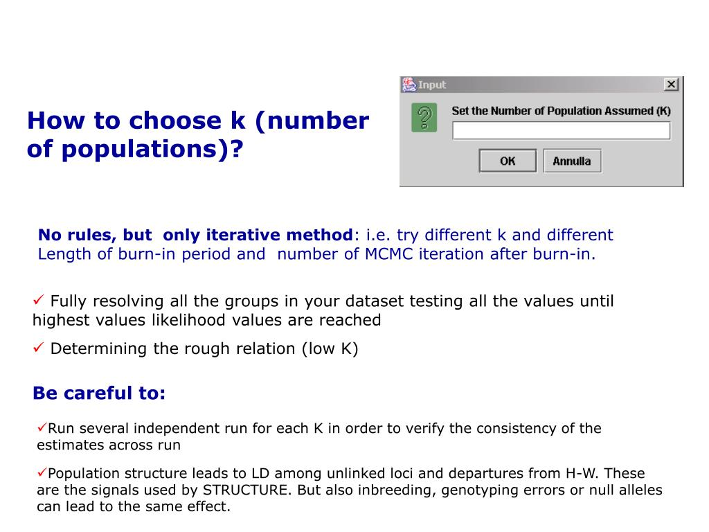 How to choose k (number of populations)?