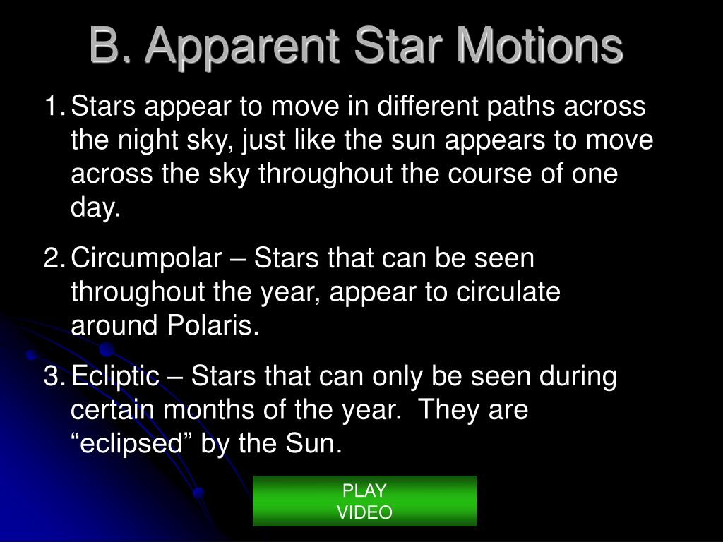 Stars appear to move in different paths across the night sky, just like the sun appears to move across the sky throughout the course of one day.