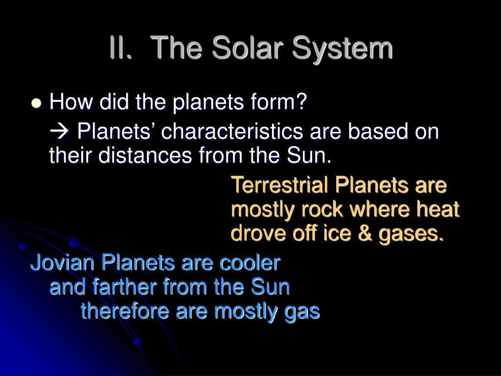 II.  The Solar System