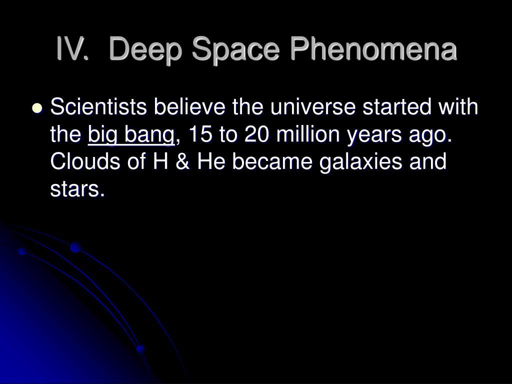 IV.  Deep Space Phenomena