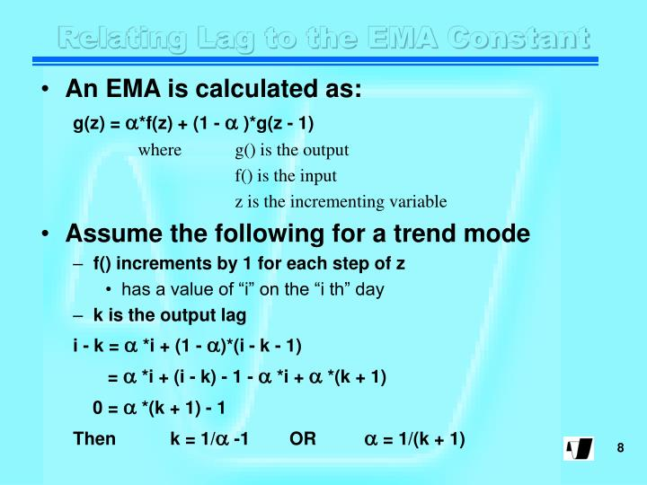 Relating Lag to the EMA Constant