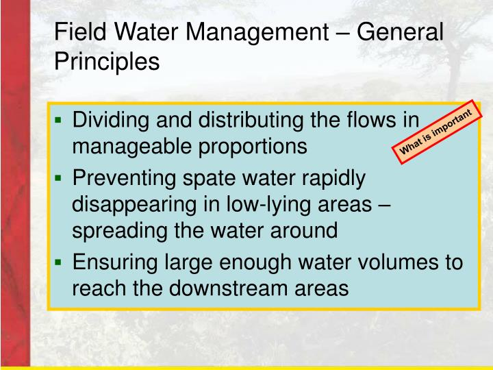 Field Water Management – General Principles