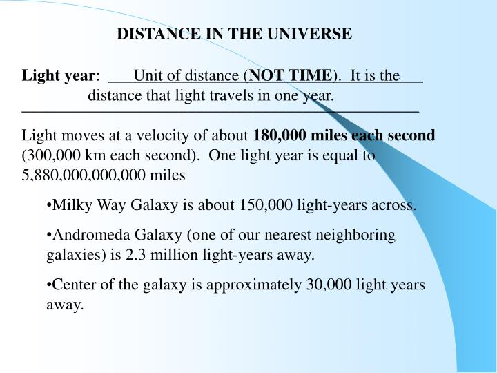 DISTANCE IN THE UNIVERSE