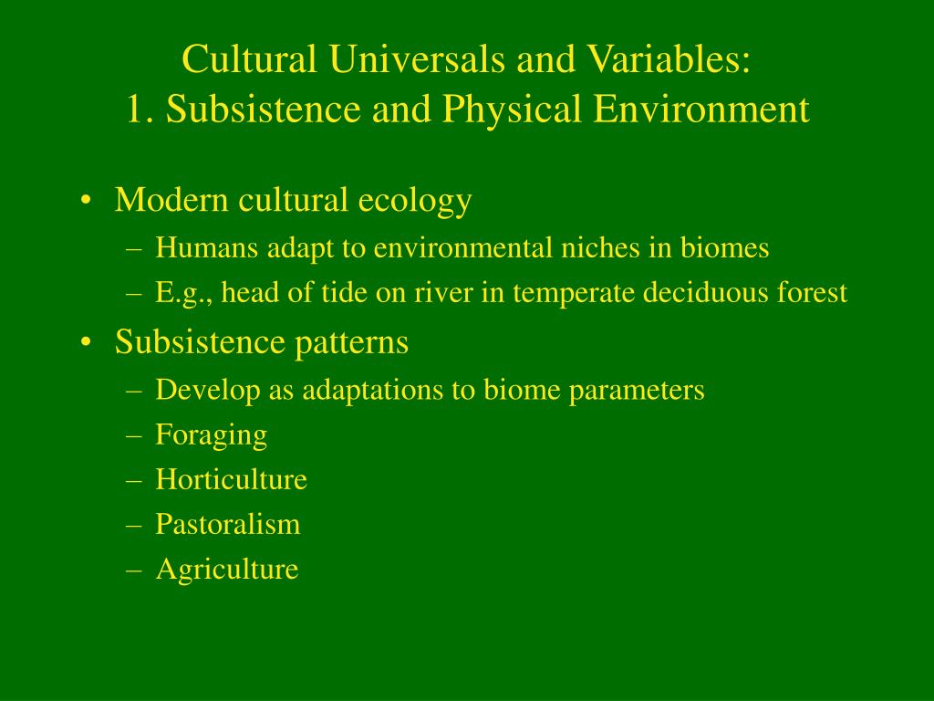 Cultural Universals and Variables:
