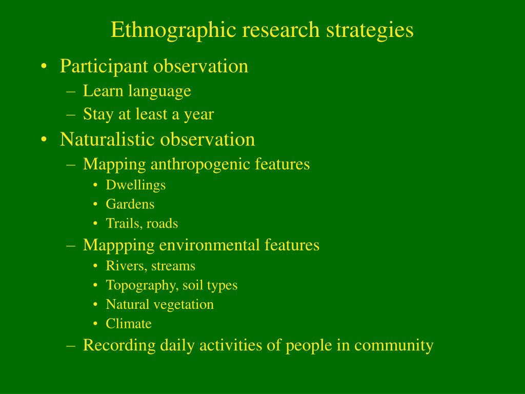 Ethnographic research strategies