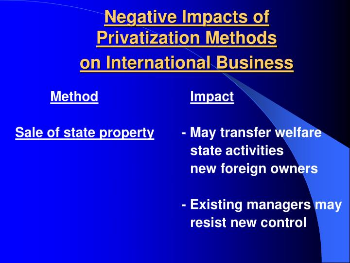 Negative impacts of privatization methods on international business1