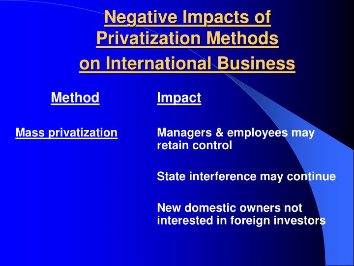 Negative impacts of privatization methods on international business2