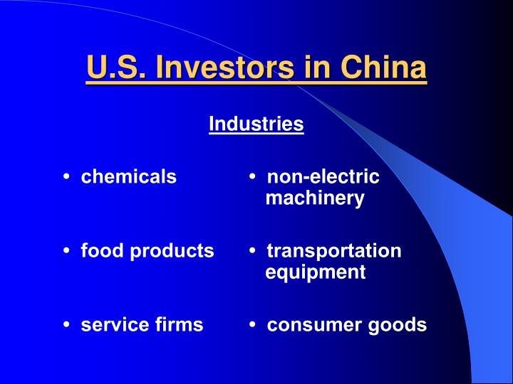 U.S. Investors in China