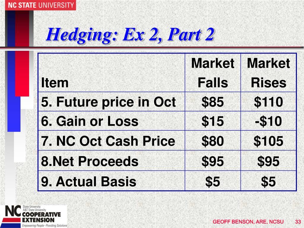 Hedging: Ex 2, Part 2