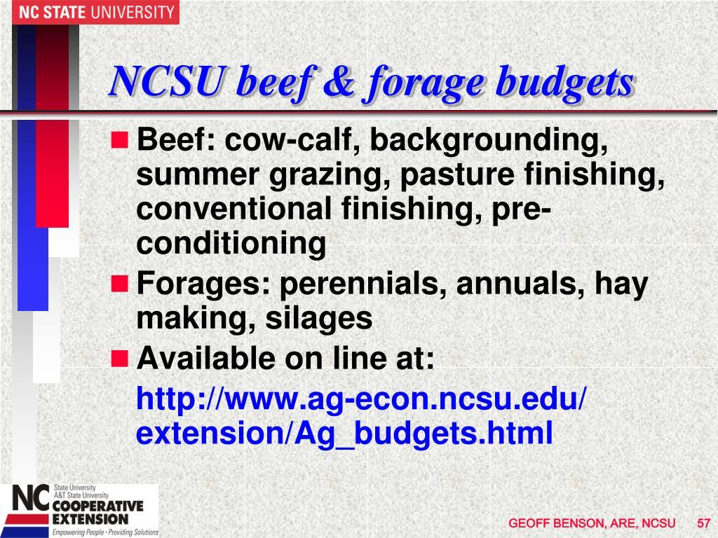 NCSU beef & forage budgets