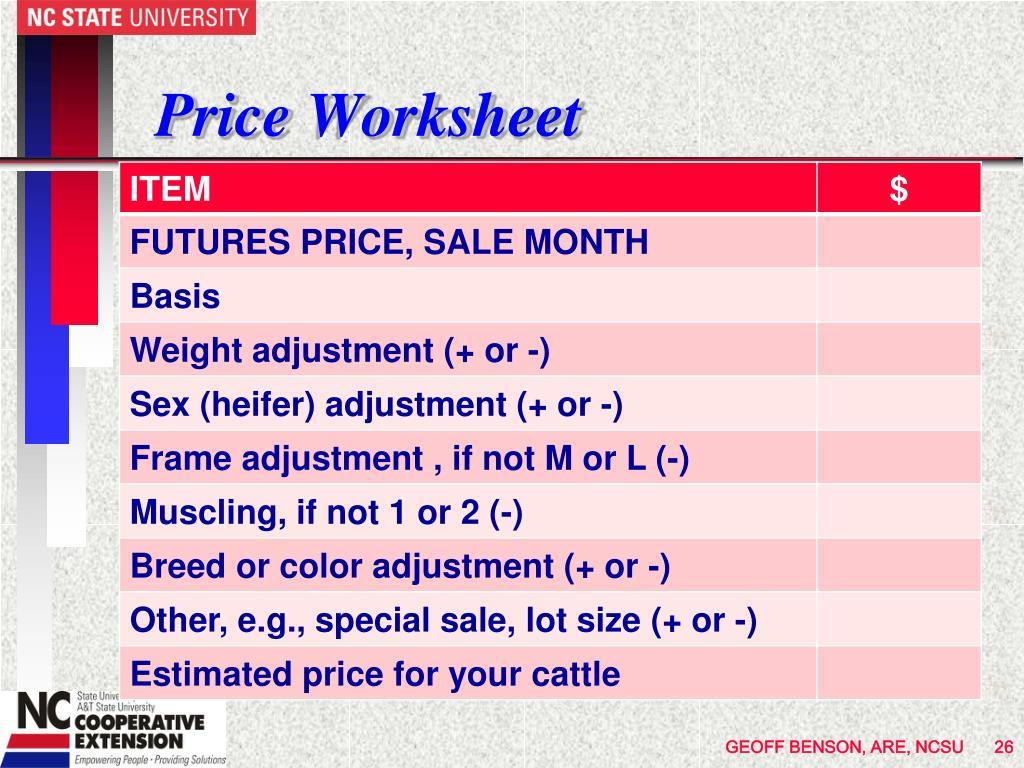 Price Worksheet