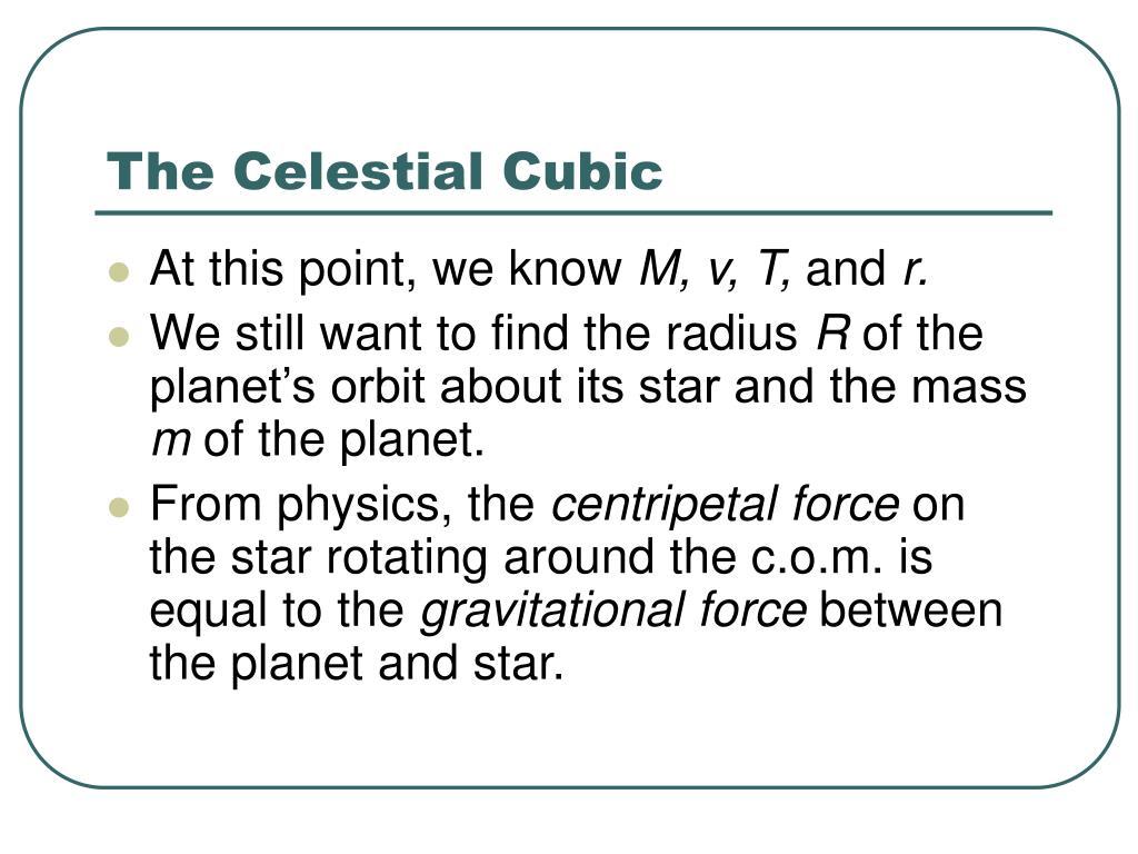 The Celestial Cubic