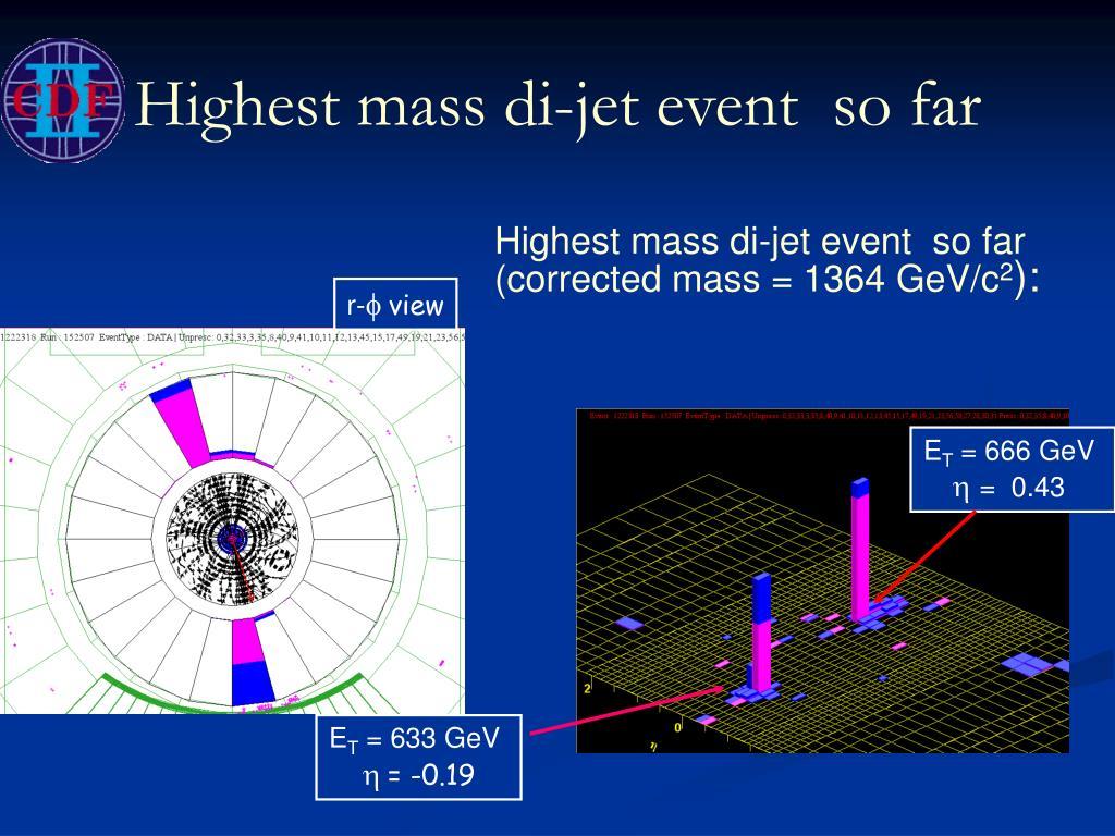 Highest mass di-jet event  so far