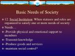 basic needs of society