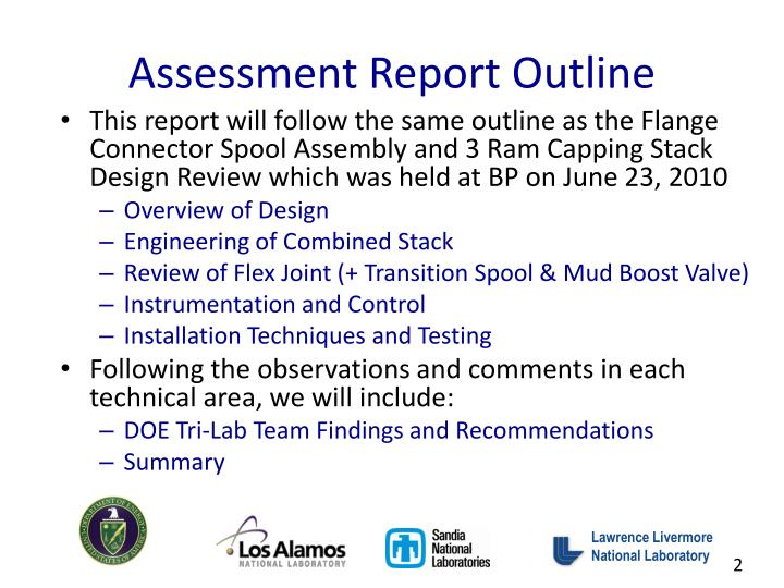 Assessment report outline