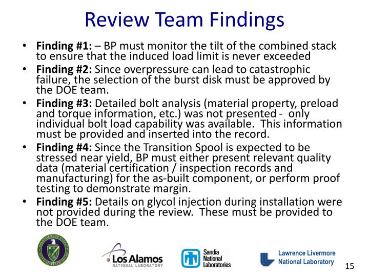 Review Team Findings