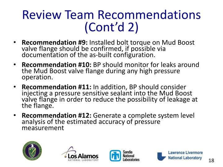 Review Team Recommendations (Cont'd 2)