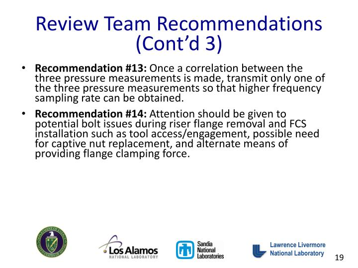Review Team Recommendations (Cont'd 3)