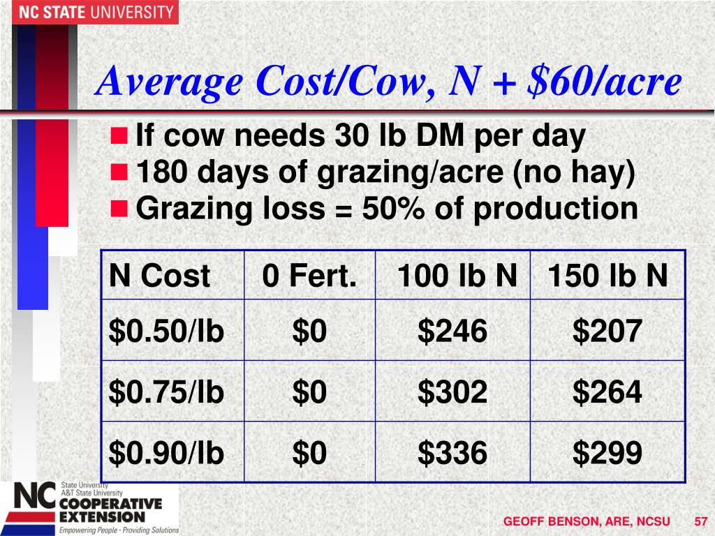 Average Cost/Cow, N + $60/acre