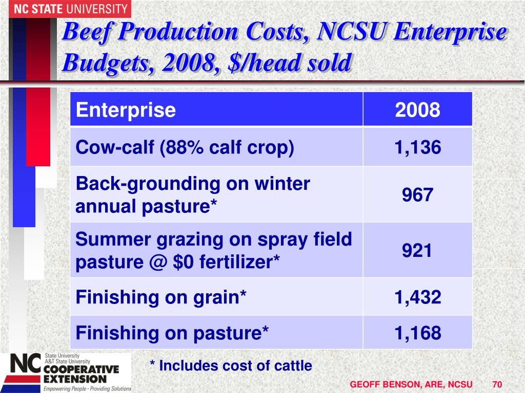 Beef Production Costs, NCSU Enterprise Budgets, 2008, $/head sold