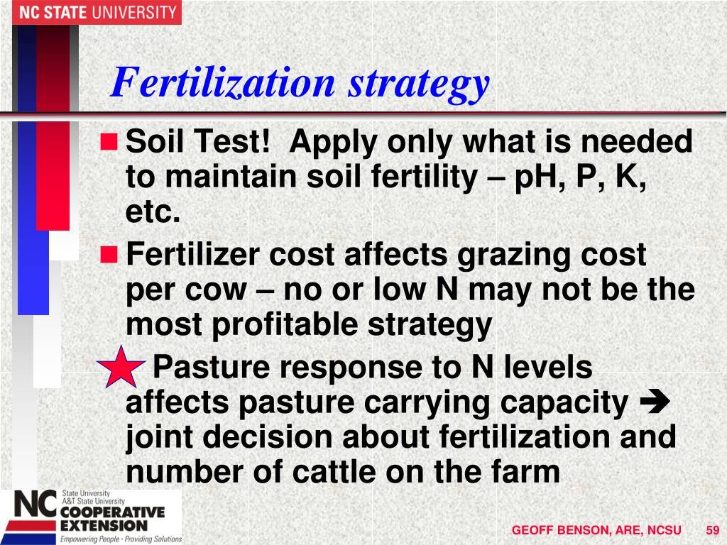 Fertilization strategy