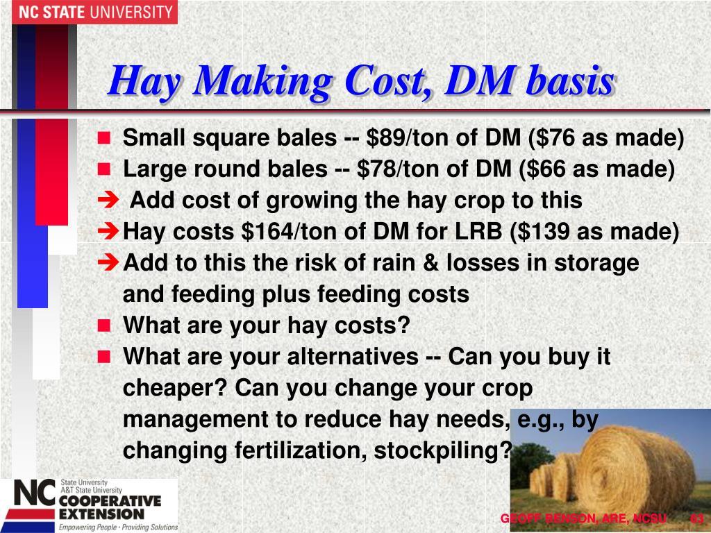 Hay Making Cost, DM basis