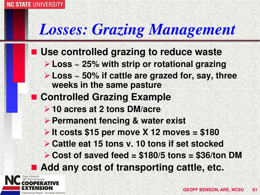 Losses: Grazing Management