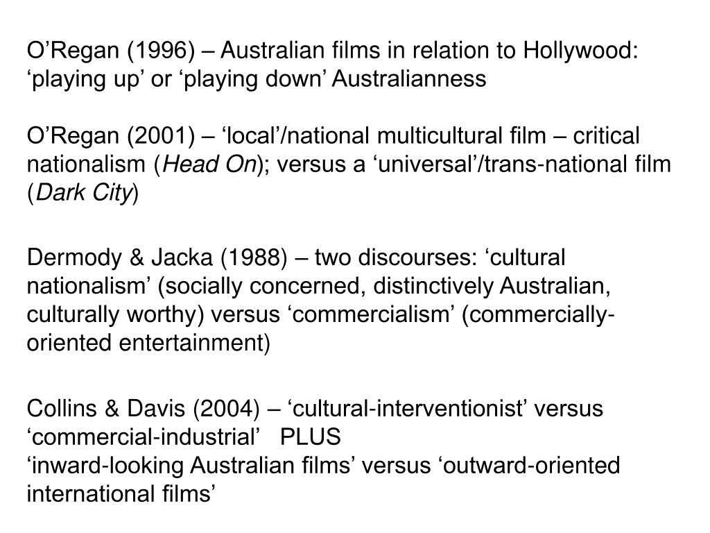 O'Regan (1996) – Australian films in relation to Hollywood: 'playing up' or 'playing down' Australianness