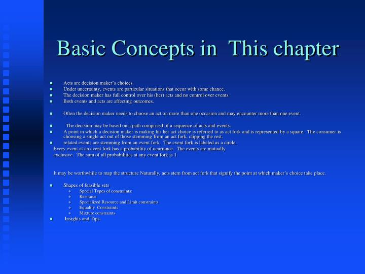 Basic Concepts in  This chapter