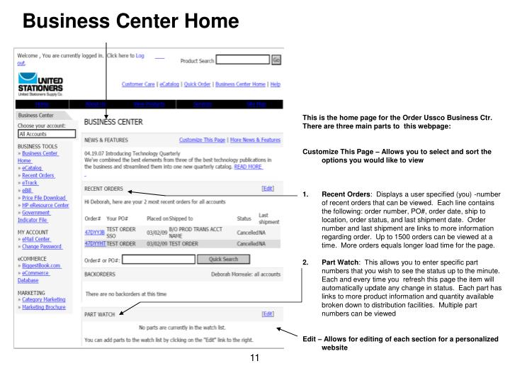 Business Center Home