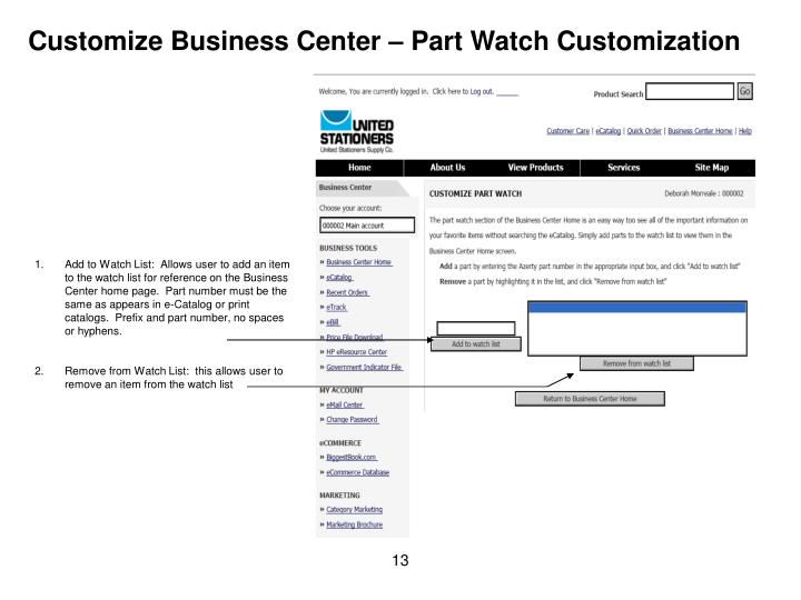 Customize Business Center – Part Watch Customization