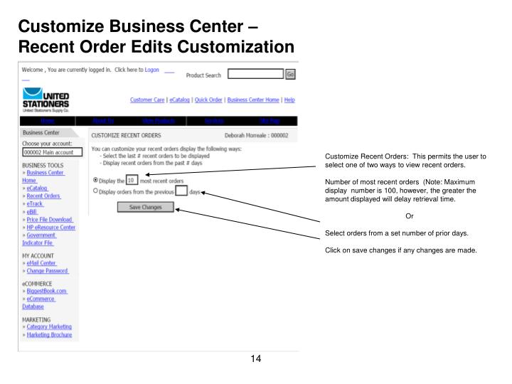Customize Business Center –
