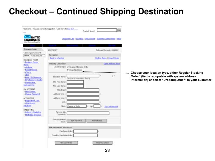 Checkout – Continued Shipping Destination
