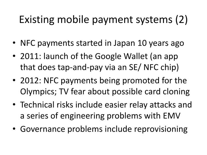 Existing mobile payment systems (2)