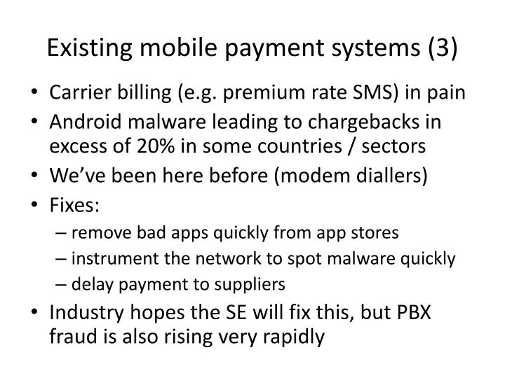 Existing mobile payment systems (3)