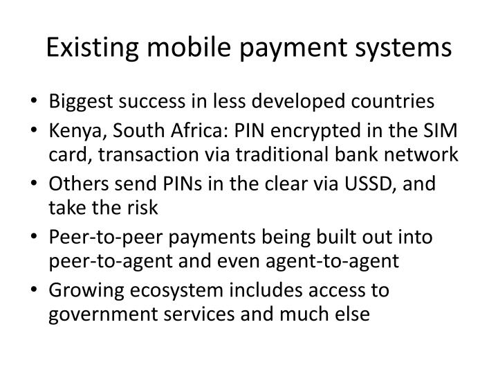 Existing mobile payment systems